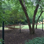 A triple hammock setup was installed next to Fretwell
